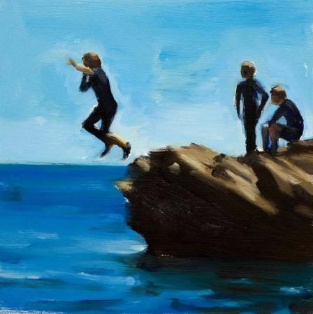 Kids Jumping off Rocks